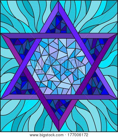 Illustration in stained glass style with an abstract six-pointed blue star on a blue background