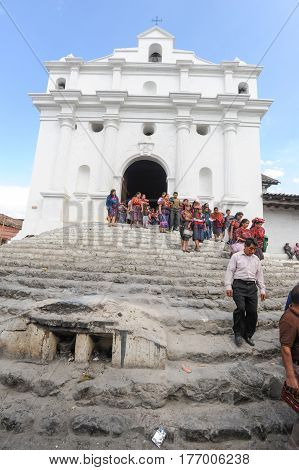 Chichicastenango, Guatemala - 4 February 2014: Church of Santo Tomas at Chichicastenango on Guatemala