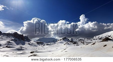 Panoramic View On Plateau Covered Snow At Spring Day