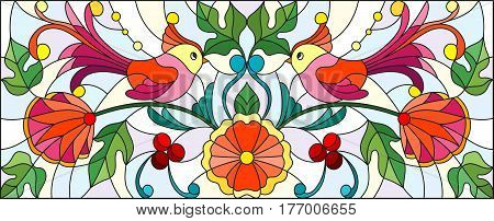 Illustration in stained glass style with a pair of abstract birds flowers and patterns on a light background horizontal image