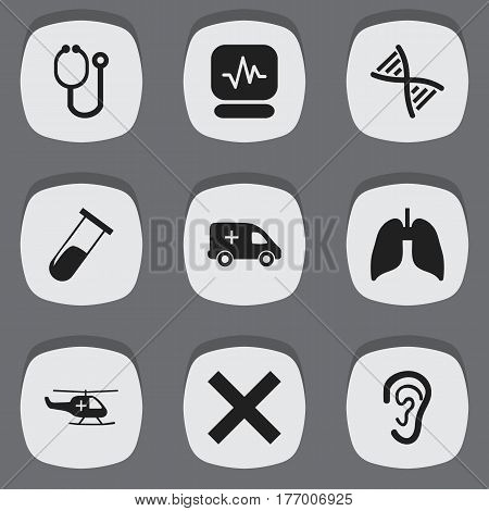Set Of 9 Editable Care Icons. Includes Symbols Such As Doctor Tool, Genome, Medical Aviation And More. Can Be Used For Web, Mobile, UI And Infographic Design.