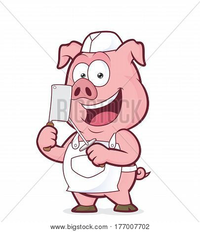 Clipart picture of a pig butcher cartoon character