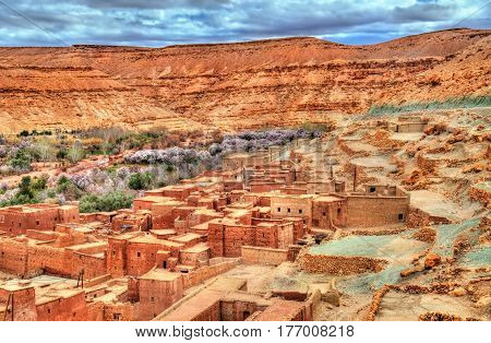 Village in the Asif Ounila valley, the Road of the Kasbahs in the High Atlas Mountains - Morocco.