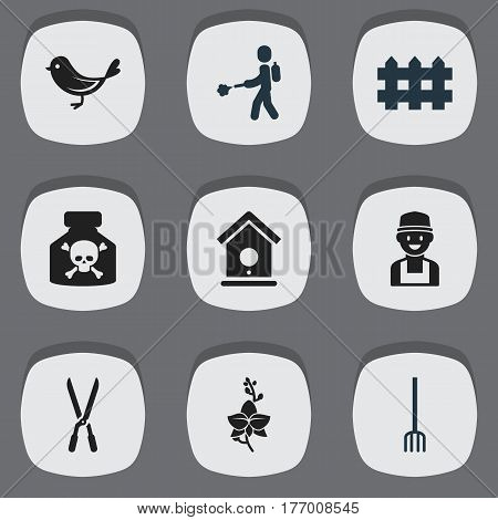 Set Of 9 Editable Agriculture Icons. Includes Symbols Such As Hay Fork, Blossom, Farmer And More. Can Be Used For Web, Mobile, UI And Infographic Design.