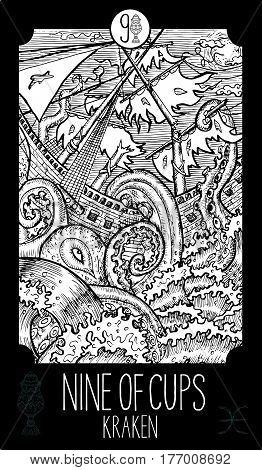 Nine of cups. Kraken. Minor Arcana Tarot card. Fantasy line art illustration. Engraved vector drawing. See all collection in my portfolio set.