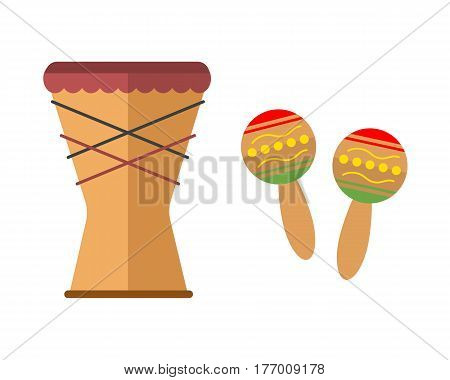 African djembe drum on white background music traditional instrument ethnic and maracas sound rhythm musical culture tool vector illustration. Festival tribal folk indigenous equipment bongo.