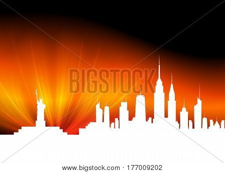 dark Golden background with white silhouettes of high-rise buildings, there is a place for text