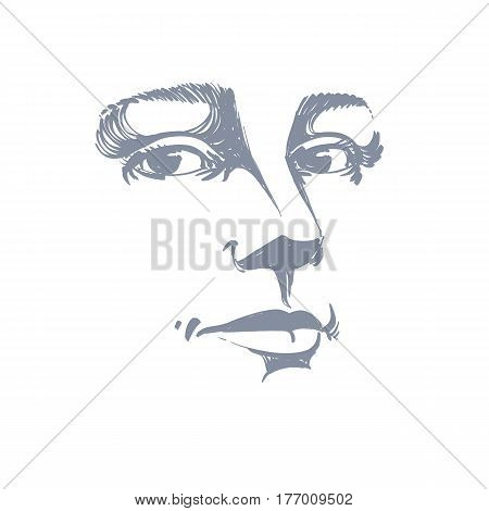 Portrait of tender dreamy still woman black and white vector drawing. Emotional expressions idea image face features. Monochrome illustration.