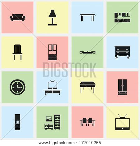 Set Of 16 Editable Furnishings Icons. Includes Symbols Such As Mattress, Watch, Commode And More. Can Be Used For Web, Mobile, UI And Infographic Design.