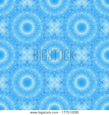 Seamless fractal based tile with a fine flower or mandala design in shades of icy blue. For print on textiles sheets tablecloths wrapping paper wall/floor tiles for kitchen/hall or interior.