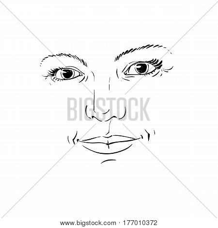 Monochrome hand-drawn silhouette of romantic woman face delicate features. Face expression on lady face vector illustration.