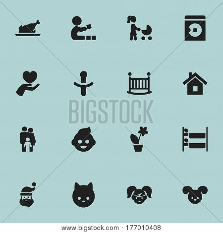 Set Of 16 Editable Family Icons. Includes Symbols Such As Nipple, Puppy, Baby And More. Can Be Used For Web, Mobile, UI And Infographic Design.