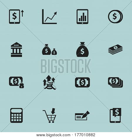 Set Of 16 Editable Finance Icons. Includes Symbols Such As To Deposit Money, Diagram, Bucks And More. Can Be Used For Web, Mobile, UI And Infographic Design.