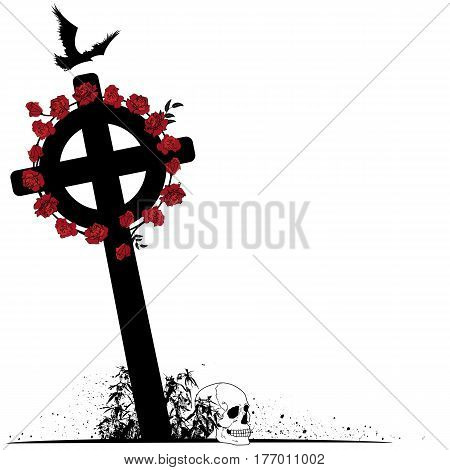 vector illustration of crucifix raven scull and roses in black white and red colors
