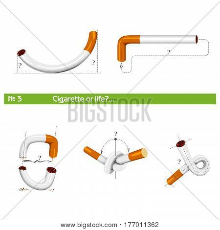 set 3 cigarette in various poses for tobacco control