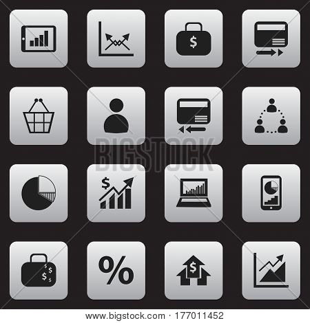 Set Of 16 Editable Logical Icons. Includes Symbols Such As Transmission, Banking House, Progress And More. Can Be Used For Web, Mobile, UI And Infographic Design.
