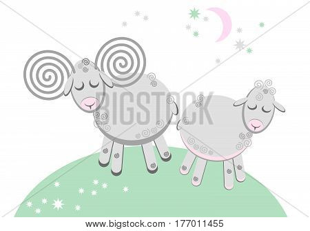Cute story with sleeping lamb and sheep lovers