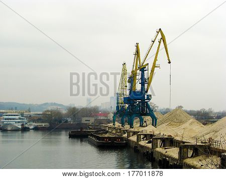 Port for repair of cranes in Ukraine on the river bank