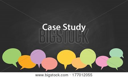case study concept illustration white text with colourful callouts and black background vector