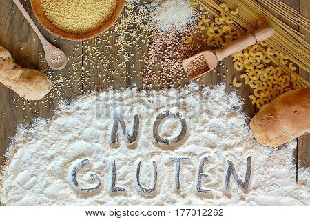 Gluten Free Cereals Corn, Rice, Buckwheat, Quinoa, Millet, Pasta And Flour With Scratched Text No Gl