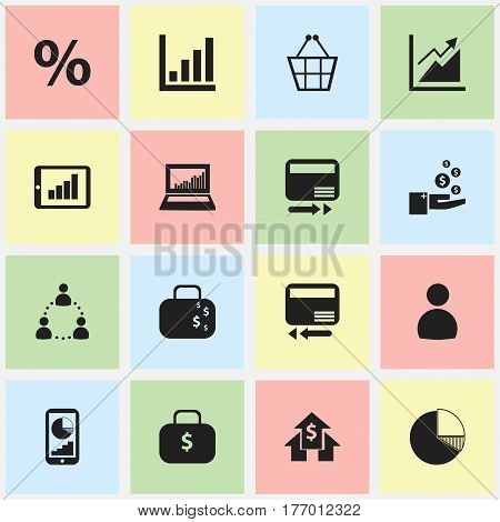 Set Of 16 Editable Logical Icons. Includes Symbols Such As Profit, Circle Diagram, Transmission And More. Can Be Used For Web, Mobile, UI And Infographic Design.