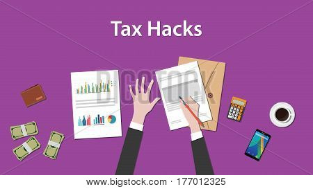 illustration of counting tax hacks with paperworks, calculator and money on top of table and purple background vector
