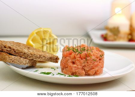Raw Salmon Tartar With Roasted Bread And Lemon
