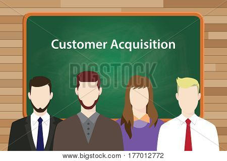 customer acquisition white text illustration with four people standing in front of green chalk board vector