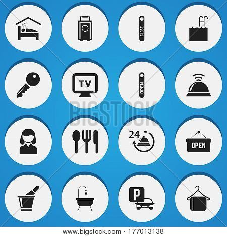 Set Of 16 Editable Travel Icons. Includes Symbols Such As Service Bell, Shower, Unblock Access And More. Can Be Used For Web, Mobile, UI And Infographic Design.