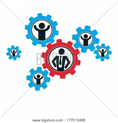 Successful Businessman And Leader Creative Logo, Vector Conceptual Symbol Isolated On White Backgrou