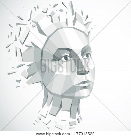 Face of a thinking woman created in low poly style 3d vector grayscale human head brain exploding which symbolizes intelligence and imagination.
