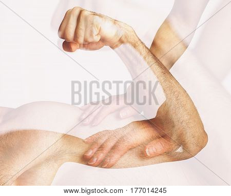 A woman touches a man's muscles Double Exposure