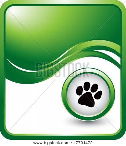 paw print on green wave backdrop