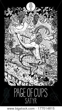 Page of cups. Satyr. Minor Arcana Tarot card. Fantasy line art illustration. Engraved vector drawing. See all collection in my portfolio set.