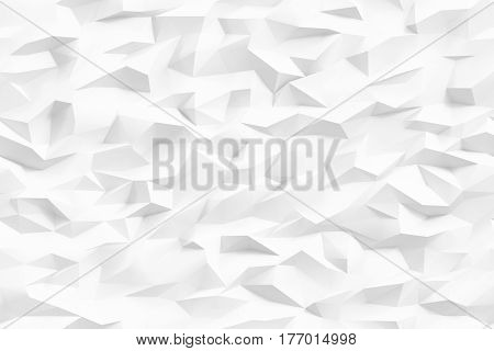 Low poly neutral white background. Graphic design element for decorative poster business card web site wallpaper mobile app backdrop. Minimalistic polygonal digital texture. 3D illustration