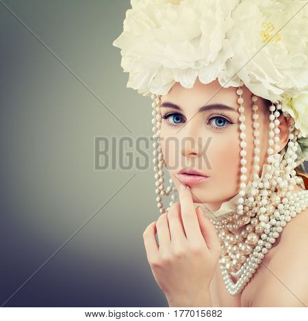 Spring Fashion Portrait of Beautiful Woman with Make up Jewelry and Flowers Wreath