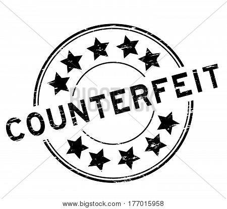 Grunge black counterfeit with star icon round rubber stamp on white background