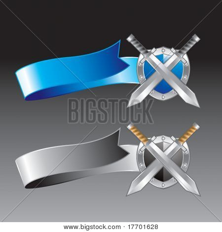 crossed swords and shield on blue and silver ribbons