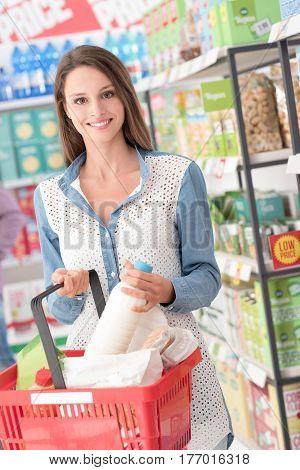 Woman Enjoying Grocery Shopping