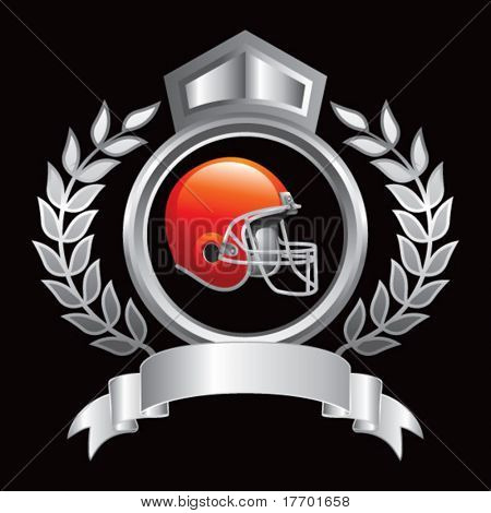 colored football helmet on silver royal crest