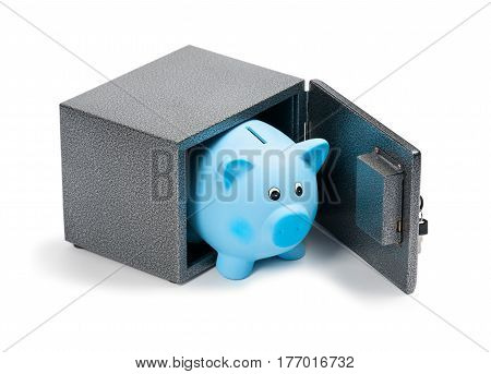 Blue ceramic piggy bank in a safe isolated on white background. Bank savings economy financials investments saving to buy a house a car for retirement concept.