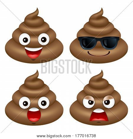 Set of cute poop happy poop emoji emotional vector illustration.