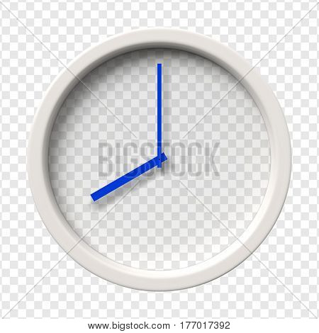 Realistic Wall Clock. Eight oclock am or pm. Transparent face. Blue hands. Ready to apply. Graphic element for documents templates posters flyers. Vector illustration.