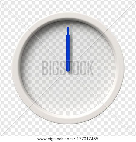 Realistic Wall Clock. Midnight. Midday. Twelve oclock. Transparent face. Blue hands. Ready to apply. Graphic element for documents templates posters or flyers Vector illustration.