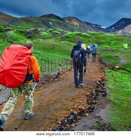 hikers with backpacks on the trail in the mountains. Trek in Iceland