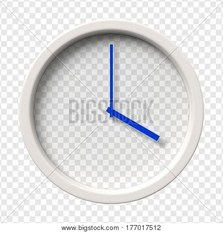 Realistic Wall Clock. Four oclock am or pm. Transparent face. Blue hands. Ready to apply. Graphic element for documents templates posters flyers. Vector illustration.