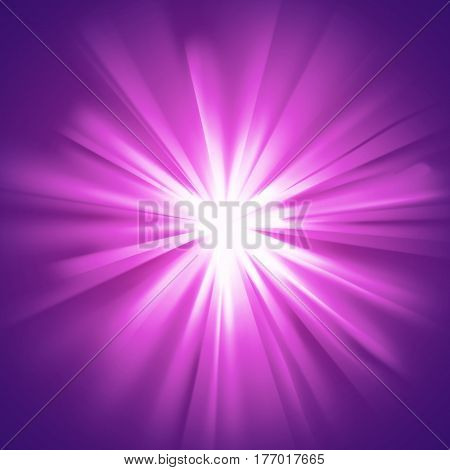 Purple glowing light. Bright shining star. Bursting explosion. Transparent graphic design element. Colorful gradient rays. Glaring effect with transparency. Abstract glowing sparkle. Vector illustration