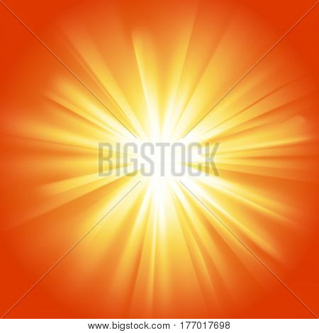 Yellow orange glowing light. Transparent graphic design element. Poster card flyer or invitation background. Colorful gradient rays with glaring effect. Abstract glowing sparkle. Vector illustration