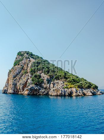 Turtle island off the coast of Antalya in the Mediterranean sea