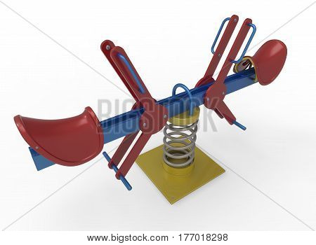 3d illustration of see saw swing. white background isolated. icon for game web.